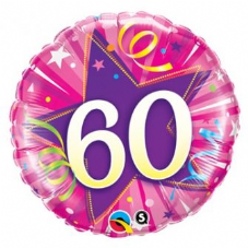 60th Birthday Shining Star Hot Pink Foil Balloon 18""
